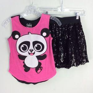 Sparkly panda sequin skirt tank set